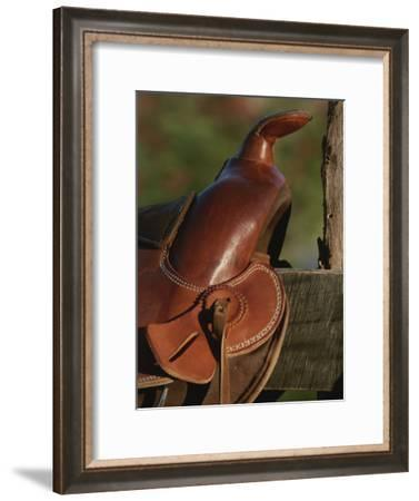 Western Riding Saddle-Michael Melford-Framed Photographic Print