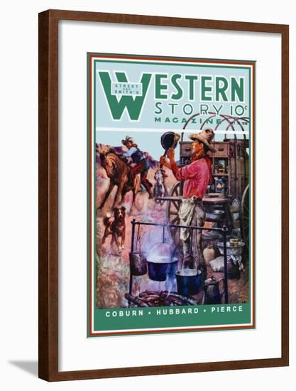 Western Story Magazine: Supper Time-Walter Kaskell Kinton-Framed Art Print