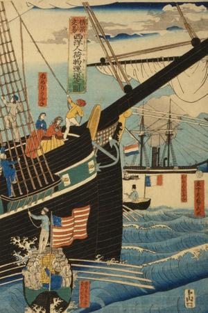 Western Traders at Yokohama Transporting Cargo and Passengers, 1861-Utagawa Sadahide-Giclee Print