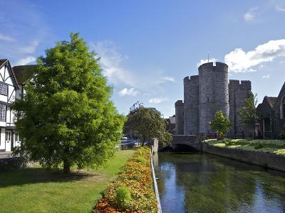 Westgate Medieval Gatehouse and Gardens, with Bridge over River Stour, Canterbury, Kent, England-Peter Barritt-Photographic Print