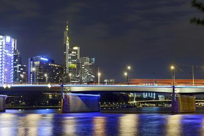 Westhafen Tower in the Direction of Financial District by Night, Frankfurt, Hesse, Germany, Europe-Axel Schmies-Photographic Print