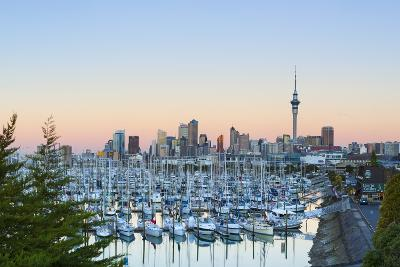 Westhaven Marina and City Skyline Illuminated at Sunset-Doug Pearson-Photographic Print