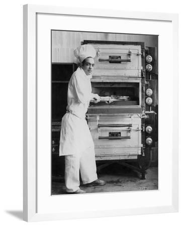 Westinghouse Electric Baking Oven, Cafeteria Kitchen, Showing a Chef at Work, 1927--Framed Photographic Print
