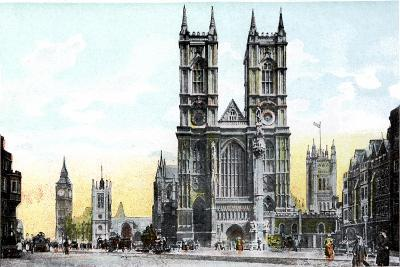 Westminster Abbey and Big Ben, London, 20th Century--Giclee Print