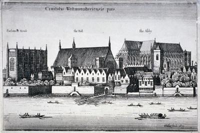 Westminster Abbey and the Palace of Westminster from the River Thames, London, 1647-Wenceslaus Hollar-Giclee Print
