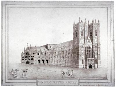 Westminster Abbey from the North-West, London, 1805-Charles Middleton-Giclee Print
