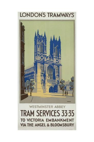 Westminster Abbey, London County Council (LC) Tramways Poster, 1926-GM Norris-Giclee Print