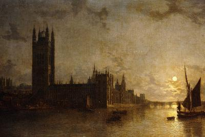 Westminster Abbey, the Houses of Parliament with the Construction of Westminster Bridge, 1859-Henry Pether-Giclee Print