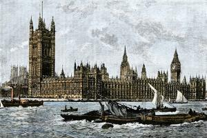 Westminster and the Houses of Parliament from the Thames, 1800s
