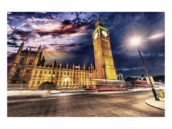 Westminster & Big Ben By Night--Art Print