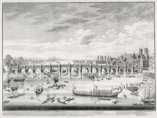 Westminster Bridge Boats Arriving At Parliament For The Swearing In Of Sir John Barnard Giclee Print Canaletto Art Com