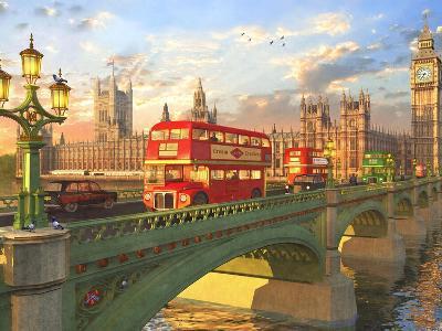 Westminster Bridge Buses-Dominic Davison-Art Print