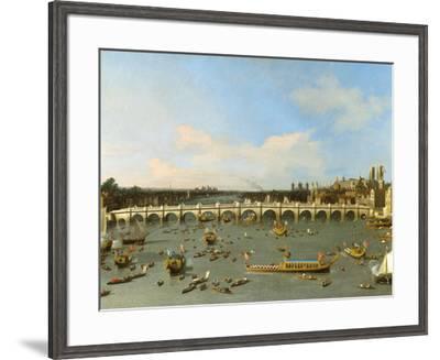 Westminster Bridge, London,-Canaletto-Framed Art Print