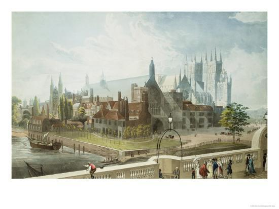 Westminster Hall and Abbey, Engraved by Daniel Havell-John Gendall-Giclee Print
