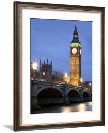 Westminster Parliament across River Themes at Dusk-Sean Caffrey-Framed Photographic Print