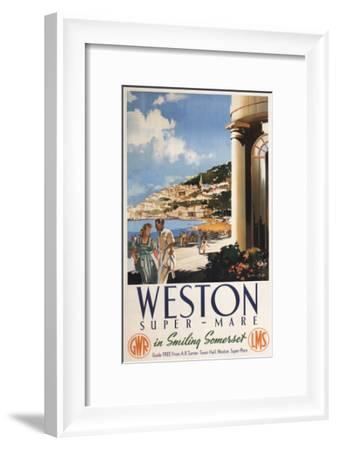 Weston-super-Mare, England - Couple Overlooking Coast Railway Poster-Lantern Press-Framed Art Print
