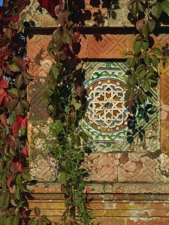 Tiled Panel on Decorative Column in Moorish Gothic Style, Quinta, Monserrate, Sintra, Portugal