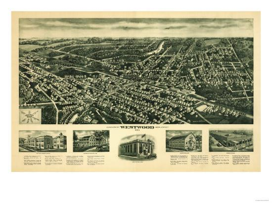 Westwood, New Jersey - Panoramic Map-Lantern Press-Art Print