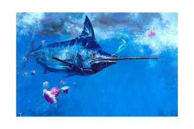 Wet Fly and Blue Marlin, Bill Wrapped with Cyanea Jellies: Giant Blue Marlin and a Salt Water Fly-Stanley Meltzoff-Giclee Print