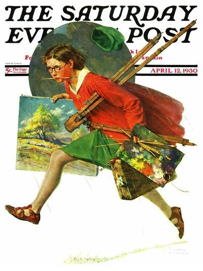 """Wet Paint"" Saturday Evening Post Cover, April 12,1930-Norman Rockwell-Giclee Print"