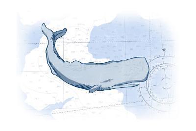 Whale - Blue - Coastal Icon-Lantern Press-Art Print