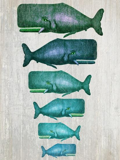 Whale Family Green on White-Fab Funky-Art Print
