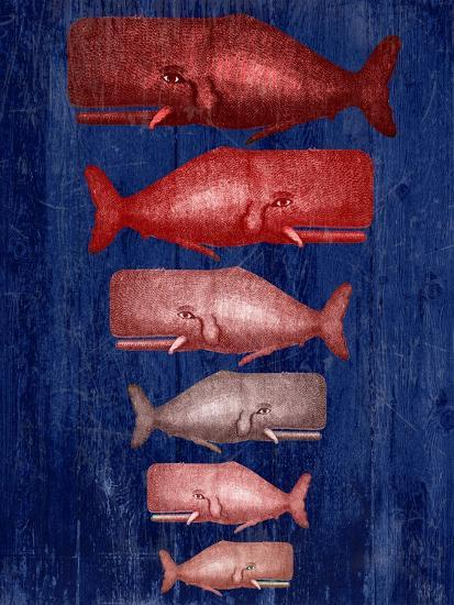 Whale Family Red On Blue-Fab Funky-Art Print