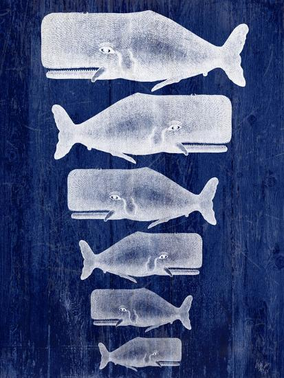 Whale Family White On Blue-Fab Funky-Art Print