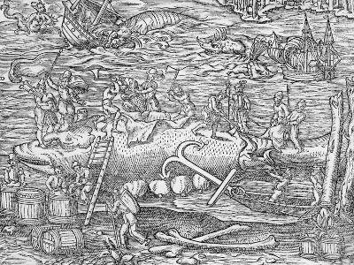 Whale Fishing from 'Cosmographie Universelle', by Andre De Thevet, 1575--Giclee Print