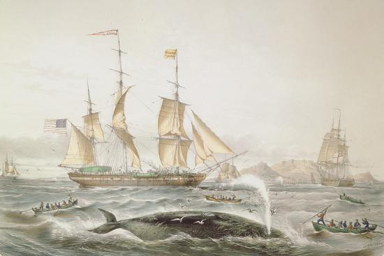 Whale Fishing, Published by E. Gambert and Co., 1853-Louis Lebreton-Giclee Print