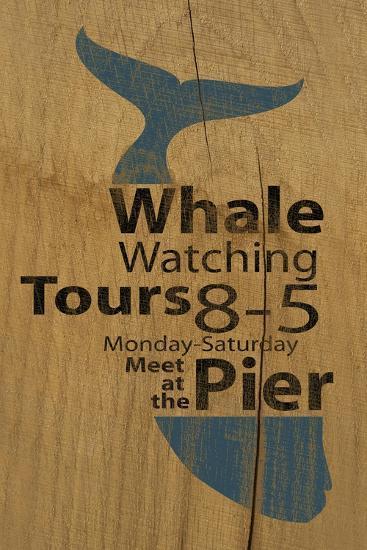 Whale Sign on Wood #1-J Hovenstine Studios-Giclee Print