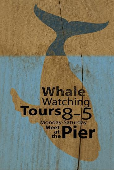 Whale Sign on Wood #2-J Hovenstine Studios-Giclee Print