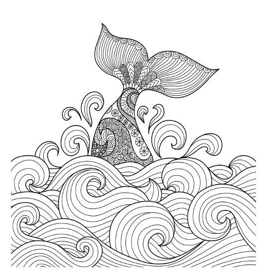 Whale Tail in the Wavy Ocean Lines Art for Adult Coloring Book,Sign, Logo,  T-Shirt, Card and Design Art Print by Bimbim | Art.com