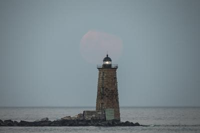 Whaleback Lighthouse Stands Out in the Night as the Supermoon Fades into the Evening-Robbie George-Photographic Print