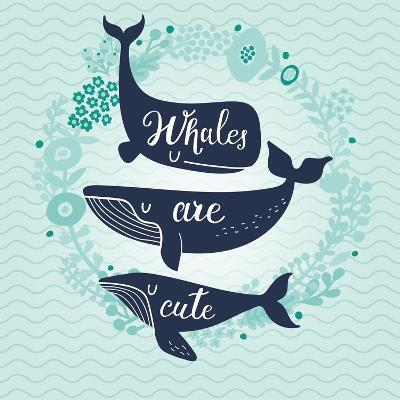 Whales are Cute. Awesome Whales on Marine Background with Floral Wreath in Vector. Lovely Childish-smilewithjul-Art Print
