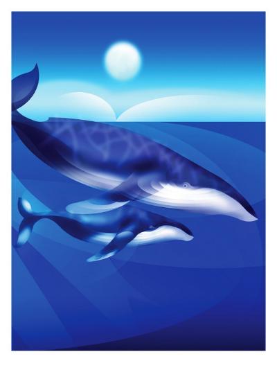 Whales Swimming--Art Print