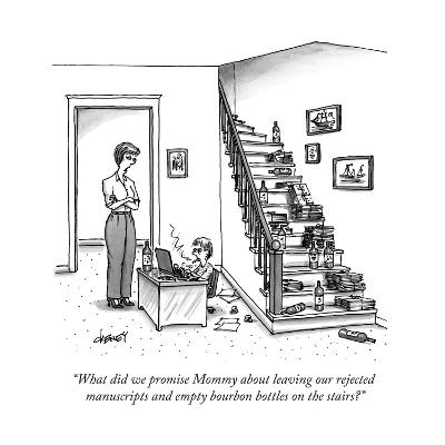 """What did we promise Mommy about leaving our rejected manuscripts and empt..."" - New Yorker Cartoon--Premium Giclee Print"