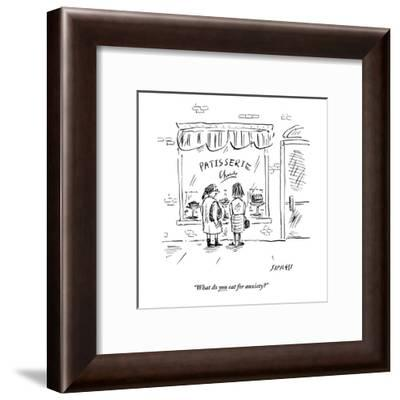 """What do you eat for anxiety?"" - New Yorker Cartoon-David Sipress-Framed Premium Giclee Print"