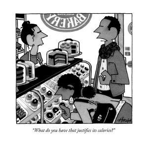 """""""What do you have that justifies its calories?"""" - New Yorker Cartoon"""