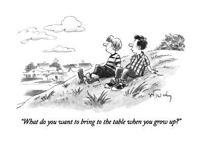 """""""What do you want to bring to the table when you grow up?"""" - New Yorker Cartoon-Mike Twohy-Premium Giclee Print"""