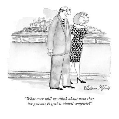 """""""What ever will we think about now that the genome project is almost compl…"""" - New Yorker Cartoon-Victoria Roberts-Premium Giclee Print"""