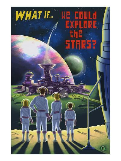 What If We Could Explore the Stars?-Lantern Press-Art Print