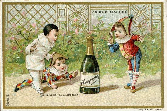 What Luck! a Bottle of Champagne', Promotional Card for the Parisian Department Store 'Au Bon…--Giclee Print