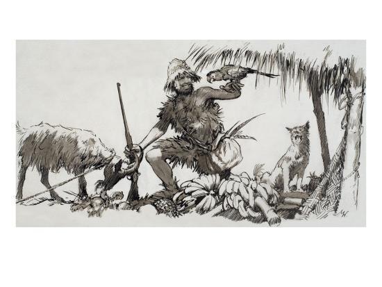 What Really Happened: the Real Robinson Crusoe, 1964-John Millar Watt-Giclee Print