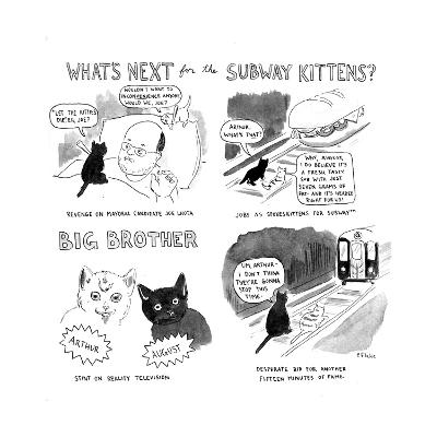 """What's next for the Subway Kittens?"" - Cartoon-Emily Flake-Premium Giclee Print"