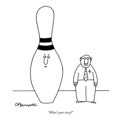 """What's your story?"" - New Yorker Cartoon-Charles Barsotti-Premium Giclee Print"