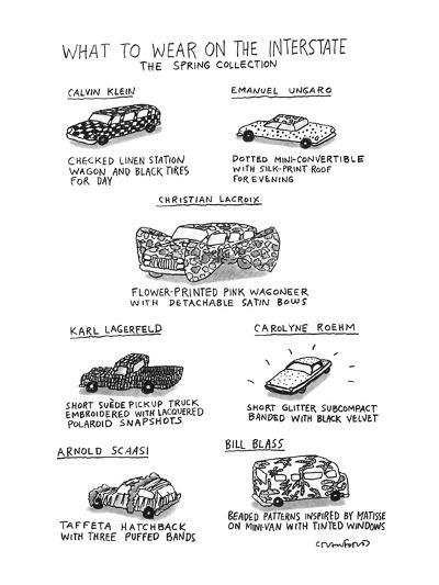 What To Wear On The Interstate The Spring Collection - New Yorker Cartoon-Michael Crawford-Premium Giclee Print