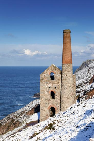 Wheal Coates Engine House in Winter Snow--Photographic Print