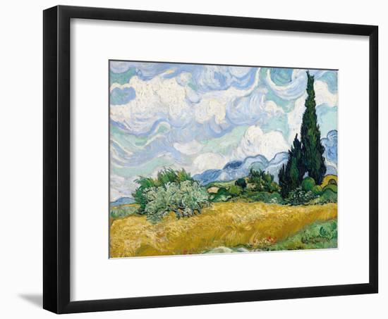 Wheat Field with Cypresses-Vincent van Gogh-Framed Giclee Print