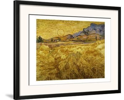 Wheat Field with Reaper and Sun-Vincent van Gogh-Framed Giclee Print
